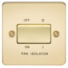Flat Plate 10A 3 Pole Fan Isolator Switch Polished Brass