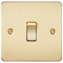 MLS BB1438PF Flat Plate 20A 1G Dp Switch Brushed Brass