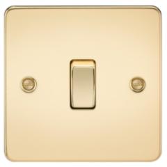 MLS BP0021PF Flat Plate 10A 1G Intermediate Switch Polished Brass