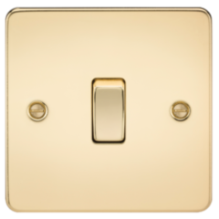 Flat Plate 10A 1G 2 Way Switch Polished Brass