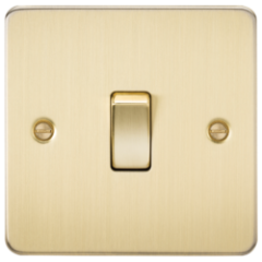 MLS BB0002PF Flat Plate 10A 1G 2 Way Switch Brushed Brass