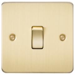 Flat Plate 10A 1G 2 Way Switch Brushed Brass