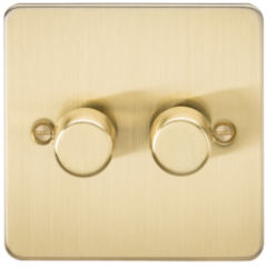 Flat Plate 2G 2 Way Dimmer 60-400W Brushed Brass