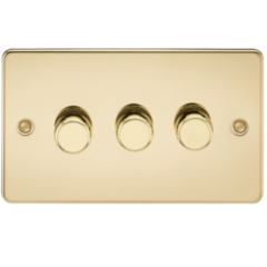 MLS BP3612PF Flat Plate 3G 2 Way Dimmer 60-400W Polished Brass