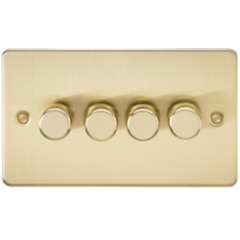 Flat Plate 4G 2 Way Dimmer 60-400W Brushed Brass