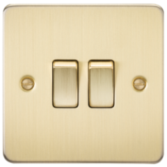 MLS BB0003PF Flat Plate 10A 2G 2 Way Switch Brushed Brass