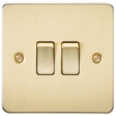 Flat Plate 10A 2G 2 Way Switch Brushed Brass