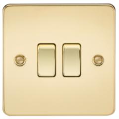 Flat Plate 10A 2G 2 Way Switch Polished Brass