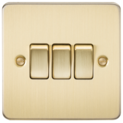 MLS BB0004PF Flat Plate 10A 3G 2 Way Switch Brushed Brass