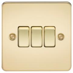 Flat Plate 10A 3G 2 Way Switch Polished Brass