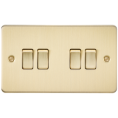 MLS BB0014PF Flat Plate 10A 4G 2 Way Switch Brushed Brass