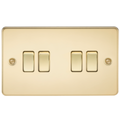 Flat Plate 10A 4G 2 Way Switch Polished Brass