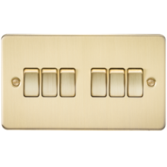 MLS BB0024PF Flat Plate 10A 6G 2 Way Switch Brushed Brass