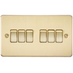 Flat Plate 10A 6G 2 Way Switch Brushed Brass