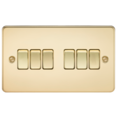 Flat Plate 10A 6G 2 Way Switch Polished Brass