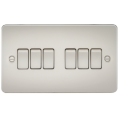Flat Plate 10A 6G 2 Way Switch Pearl