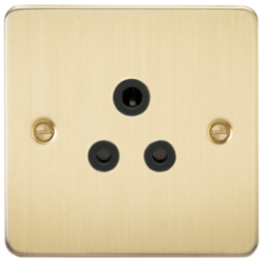 MLS BBA5PF Flat Plate 5A Unswitched Socket Brushed Brass With Black Insert