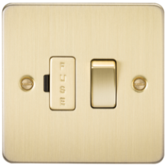 MLS BB0036PF Flat Plate 13A Switched Fused Spur Unit Brushed Brass