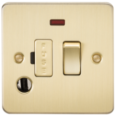 Flat Plate 13A Switched Fused Spur Unit With Neon and Flex Outlet Brushed Brass