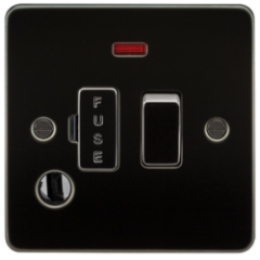 MLS MGF0036PF Flat Plate 13A Switched Fused Spur Unit With Neon And Flex Outlet Gunmetal