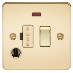 MLS BPF0036PF Flat Plate 13A Switched Fused Spur Unit With Neon And Flex Outlet Polished Brass