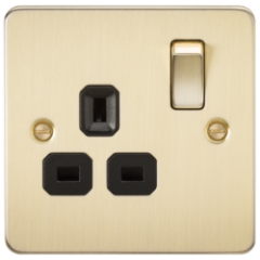 Flat Plate 13A 1G Dp Switched Socket Brushed Brass With Black Insert