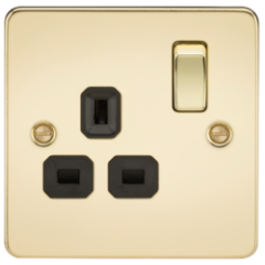 Flat Plate 13A 1G Dp Switched Socket Polished Brass With Black Insert
