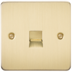 MLS BB0037PF Flat Plate Telephone Master Socket Brushed Brass