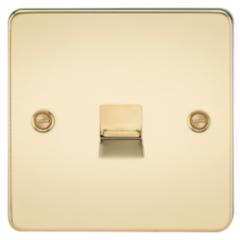 MLS BP0037PF Flat Plate Telephone Master Socket Polished Brass