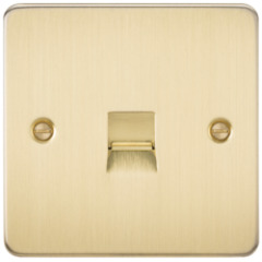 MLS BB0047PF Flat Plate Telephone Extension Socket Brushed Brass