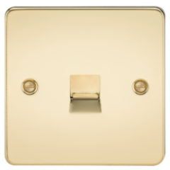 MLS BP0047PF Flat Plate Telephone Extension Socket Polished Brass