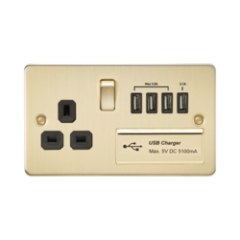 Flat Plate 1G 13A Switched Socket With Quad Usb Charger 5V Dc 5.1A Brushed Brass With Black Insert