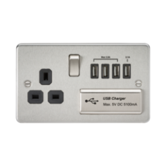 MLS CB4BSU7PF Flat Plate 1G 13A Switched Socket With Quad Usb Charger 5V Dc 5.1A Brushed Chrome W/Black Insert