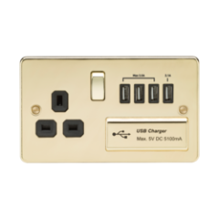 MLS BP4BSU7PF Flat Plate 1G 13A Switched Socket With Quad Usb Charger 5V Dc 5.1A Polished Brass W/Black Insert