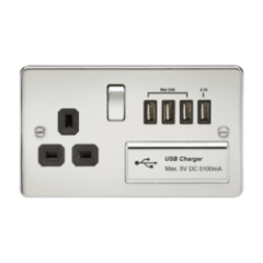MLS CP4BSU7PF Flat Plate 1G 13A Switched Socket With Quad Usb Charger 5V Dc 5.1A Polished Chrome W/Black Insert