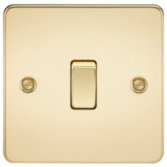 MLS BP1438PF Flat Plate 20A 1G Dp Switch Polished Brass