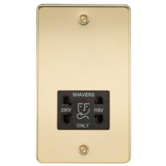 MLS BP0098PF Flat Plate 115V/230V Dual Voltage Shaver Socket Polished Brass With Black Insert