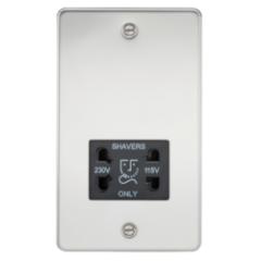 MLS CP0098PF Flat Plate 115V/230V Dual Voltage Shaver Socket Polished Chrome With Black Insert