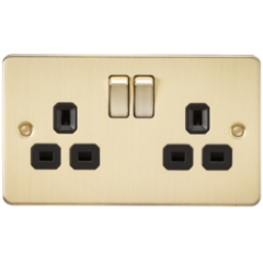 Flat Plate 13A 2G Dp Switched Socket Brushed Brass With Black Insert