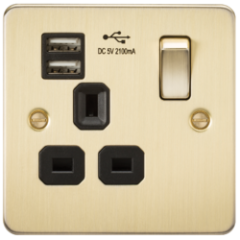 Flat Plate 13A 1G Switched Socket With Dual Usb Charger Brushed Brass With Black Insert