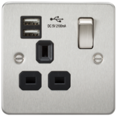 MLS CB1099PF Flat Plate 13A 1G Switched Socket With Dual Usb Charger Brushed Chrome With Black Insert
