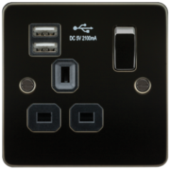 MLS MG1099PF Flat Plate 13A 1G Switched Socket With Dual Usb Charger Gunmetal With Black Insert