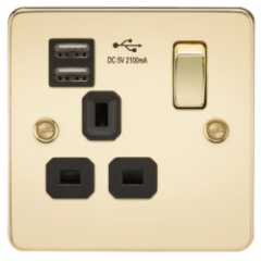 Flat Plate 13A 1G Switched Socket With Dual Usb Charger Polished Brass With Black Insert