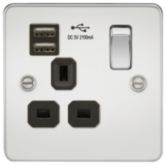 MLS CP1099PF Flat Plate 13A 1G Switched Socket With Dual Usb Charger Polished Chrome With Black Insert