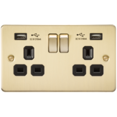 Flat Plate 13A 2G Switched Socket With Dual Usb Charger Polished Brass With Black Insert