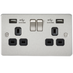 MLS CB2099PF Flat Plate 13A 2G Switched Socket With Dual Usb Charger Brushed Chrome With Black Insert