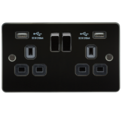 MLS MG2099PF Flat Plate 13A 2G Switched Socket With Dual Usb Charger Gunmetal With Black Insert