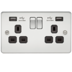 MLS CP2099PF Flat Plate 13A 2G Switched Socket With Dual Usb Charger Polished Chrome With Black Insert