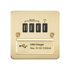 Flat Plate 1G Quad Usb Charger Outlet 5V Dc 5.1A Brushed Brass With Black Insert