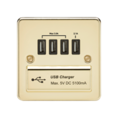 MLS BPDAUQPF Flat Plate 1G Quad Usb Charger Outlet 5V Dc 5.1A Polished Brass With Black Insert